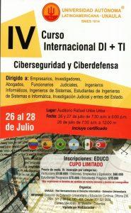 IV CONGRESO INTERNACIONAL DI+TI: CIBERSEGURIDAD Y CIBERDEFENSA – Medellín 26 al 28 de Julio